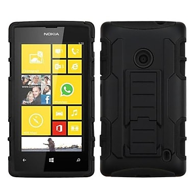 Insten® Rubberized Car Armor Stand Protector Case For Nokia Lumia 520, Black/Black