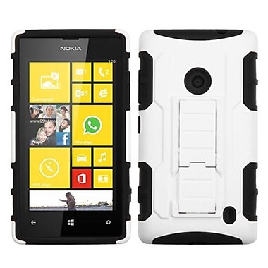 Insten® Rubberized Car Armor Stand Protector Case For Nokia Lumia 520, White/Black