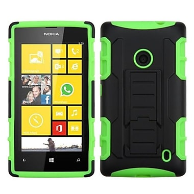 Insten® Rubberized Car Armor Stand Protector Case For Nokia Lumia 520, Black/Electric Green