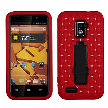 Insten® Symbiosis Stand Protector Case For ZTE N9510 Warp 4G, Diamond Black/Red