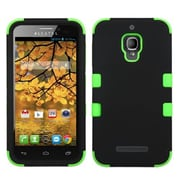 Insten® Rubberized TUFF Hybrid Phone Protector Case For Alcatel 7024W, Black/Electric Green