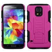 Insten® Rubberized Car Armor Stand Protector Case For Samsung Galaxy S5, Hot-Pink/Black