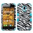 Insten® TUFF Hybrid Phone Protector Case F/Alcatel 7024W, Zebra Skin/Tropical Teal