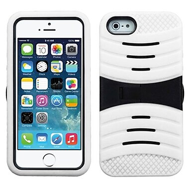 Insten® Wave Protector Cover W/Symbiosis Horizontal Stand F/iPhone 5/5S, Black/White