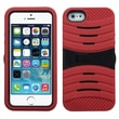 Insten® Wave Protector Cover W/Symbiosis Horizontal Stand F/iPhone 5/5S, Black/Red