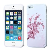 Insten® Gummy Cover F/iPhone 5/5S, Spring Flowers/Solid White