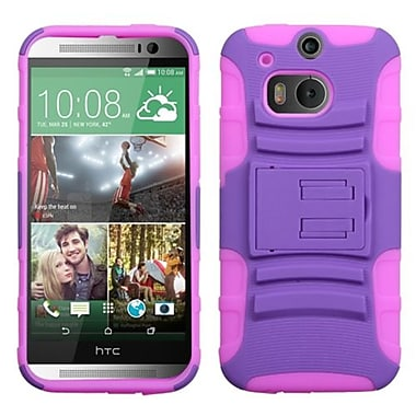 Insten® Advanced Armor Stand Protector Case For HTC-One M8, Purple/Electric Pink