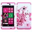 Insten® TUFF Hybrid Phone Protector Case For Nokia Lumia 521, Spring Flowers/Electric Pink