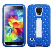 Insten® Symbiosis Stand Protector Case With Diamonds For Samsung Galaxy S5, White/Dark Blue