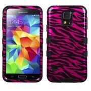 Insten® TUFF Hybrid Phone Protector Case F/Samsung Galaxy S5, Zebra Skin Hot-Pink/Black