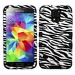 Insten® TUFF Hybrid Phone Protector Case F/Samsung Galaxy S5, Zebra Skin/Black