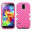 Insten® TUFF Hybrid Phone Protector Case F/Samsung Galaxy S5, Dots(Pink/White)/White