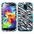 Insten® TUFF Hybrid Phone Protector Case F/Samsung Galaxy S5, Zebra Skin/Tropical Teal