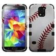 Insten® TUFF Hybrid Phone Protector Case F/Samsung Galaxy S5, Baseball Black