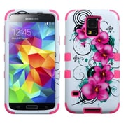 Insten® TUFF Hybrid Phone Protector Case F/Samsung Galaxy S5, Morning Petunias/Electric Pink