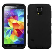 Insten® Rubberized TUFF Hybrid Phone Protector Case For Samsung Galaxy S5, Black/Black