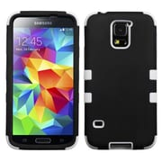 Insten® Rubberized TUFF Hybrid Phone Protector Case For Samsung Galaxy S5, Black/Solid White