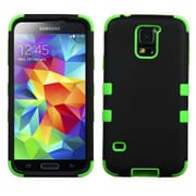 Insten® Rubberized TUFF Hybrid Phone Protector Case For Samsung Galaxy S5, Black/Electric Green
