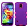 Insten® Rubberized TUFF Hybrid Phone Protector Case For Samsung Galaxy S5, Grape/Electric Pink