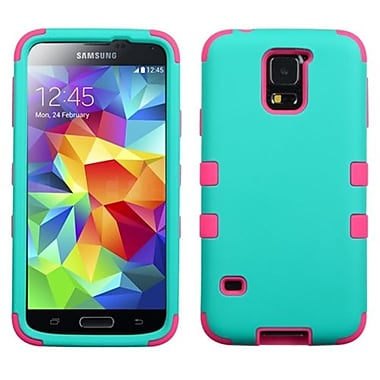 Insten® Rubberized TUFF Hybrid Phone Protector Case For Samsung Galaxy S5, Teal Green/Electric Pink