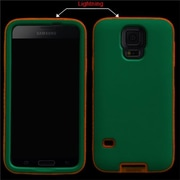 Insten® Rubberized VERGE Protector Case For Samsung Galaxy S5, Teal Green/Lightning Electric Pink