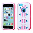 Insten® Aztec Armor Hybrid Phone Protector Case F/iPhone 5C, Natural Ivory White/Electric Pink