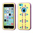 Insten® Aztec Armor Hybrid Phone Protector Case F/iPhone 5C, Natural Baby Yellow/Electric Purple