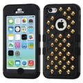 Insten® TUFF Hybrid Phone Protector Cover W/Gold Studs For iPhone 5C, Natural Black/Black