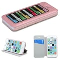Insten® MyJacket Wallet Case W/Colorful Beads Inside Rectangles For iPhone 5C, Pink