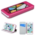 Insten® MyJacket Wallet Case W/Colorful Beads Abstract Triangles For iPhone 5C, Hot-Pink