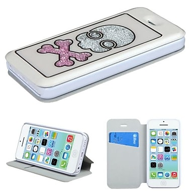 Insten® MyJacket Wallet Case W/Colorful Beads Inside Skull For iPhone 5C, White