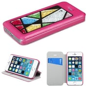 Insten® MyJacket Wallet Case W/Colorful Beads Abstract Triangles For iPhone 5/5S, Hot-Pink