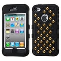 Insten® TUFF Hybrid Phone Protector Cover W/Gold For iPhone 4/4S, Natural Black/Black