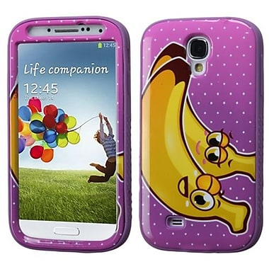 Insten® VERGE Hybrid Protector Case For Samsung Galaxy S4, Banana/Electric Purple