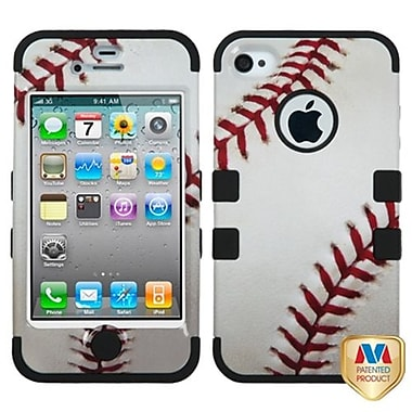 Insten® TUFF Hybrid Phone Protector Cover F/iPhone 4/4S, Baseball-Sports Collection/Black