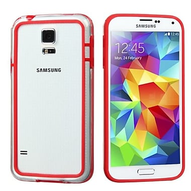 Insten® MyBumper Phone Protector Cover For Samsung Galaxy S5, Red/Transparent Clear