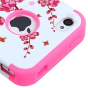 Insten® TUFF Hybrid Phone Protector Cover F/iPhone 4/4S, Spring Flowers/Electric Pink