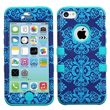 Insten® TUFF Hybrid Phone Protector Cover F/iPhone 5C, Purple/Blue Damask/Black