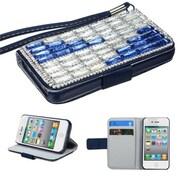 Insten® Diamante MyJacket Wallet Case F/iPhone 4/4S, Blue/Blue Crystals Ladder