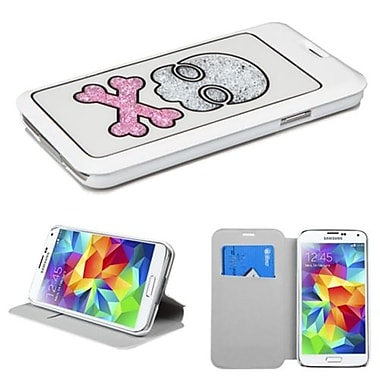 Insten® MyJacket With Colorful Beads Inside Skull For Samsung Galaxy S5, White