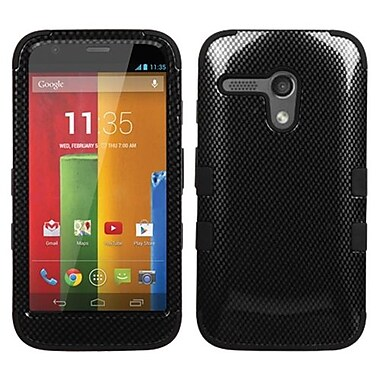 Insten® TUFF Hybrid Protector Case For Motorola G, Black Carbon Fiber