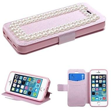 Insten® Silk Texture Diamante MyJacket Wallet Case F/iPhone 5/5S, Pink/Large Pearls