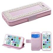 Insten® Silk Texture Diamante MyJacket Wallet Case F/iPhone 5C, Pink/Large Pearls