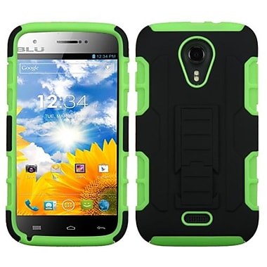 Insten® Car Armor Stand Protector Cover For BLU D530 Studio 5.0, Black/Electric Green