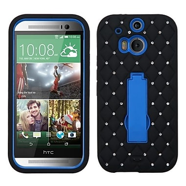 Insten® Symbiosis Stand Protector Cover With Diamonds For HTC-One M8, Dark Blue/Black