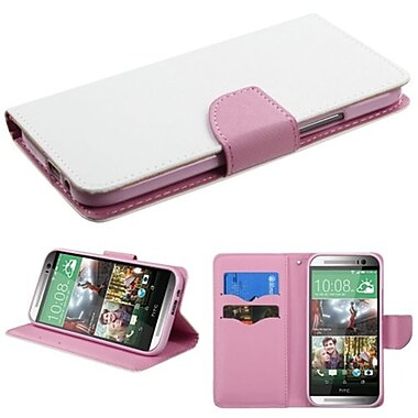 Insten® MyJacket Wallet For HTC-One M8, White/Pink Liner