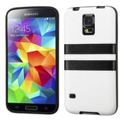 Insten® Candy Skin Cover With Leather Backing For Samsung Galaxy S5, White/Black