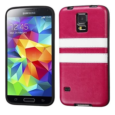 Insten® Candy Skin Cover With Leather Backing For Samsung Galaxy S5, Hot-Pink/White