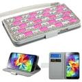 Insten® Diamante MyJacket For Samsung Galaxy S5, White/Pink Crystal Curtain