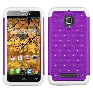 Insten® Luxurious Lattice Dazzling Protector Case F/Alcatel 7024W, Purple/Solid White
